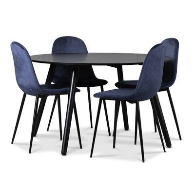 Rosvik matgrupp, matbord med 4 st Carisma sammetsstolar - Svart/Blå