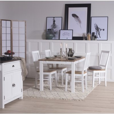 Dalarös matgrupp bord vit/ek med 4 st Dalarös stolar