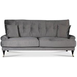 Adena 2-sits soffa - Silvergrå sammet