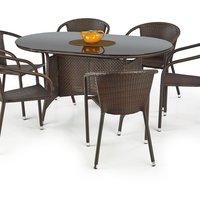 Benin matbord 150 cm - Mörkbrun konstrotting
