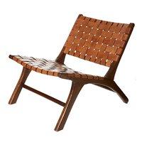 Fåtölj Pixie Safari - Cognacs skinn i sadelgjord / Teak