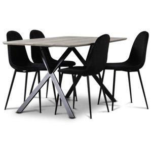 Smokey matgrupp, matbord med 4 st Carisma sammetsstolar - Svart