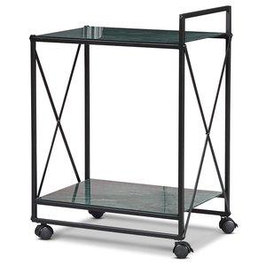 Serveringsvagn Paladium - Svart / Grönt marmorglas
