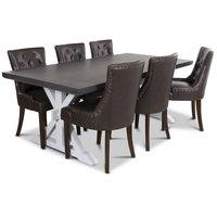 Ventos matgrupp inklusive 6 st Tuva stolar i brunt PU