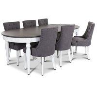 Hampstead matgrupp, bord med 6 st Tuva stolar i grått tyg