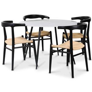 Berit matgrupp, 110 cm runt bord + 4 st Berit stolar svarta / repsits