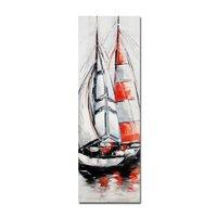 Tavla oljemålning Segelbåt