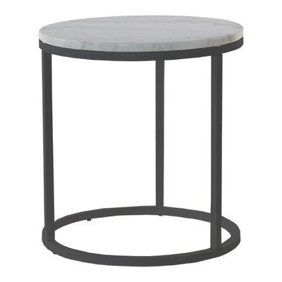 Accent runt lampbord D50 cm - Vit marmor / svart underrede