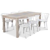 Jasmine matgrupp med bord i whitewash och 6 st vita Fredrik Pinnstolar