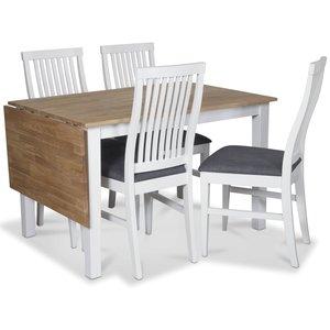 Österlen matgrupp, Klaffbord vit/ek med 4 st vita Kivik stolar med grå sits