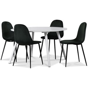 Rosvik matgrupp, matbord med 4 st Carisma sammetsstolar - Vit/Grön