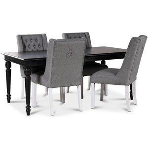 Paris matgrupp svart bord med 4 st Windsor stolar i grått tyg med rygghandtag