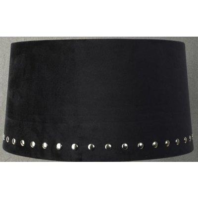 Velvet lampskärm med nitar 33 cm - Svart / Krom