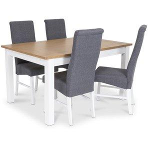 Skagen matgrupp - Skagen 140 cm Bord inklusive 4 st Isabelle stolar i grå klädsel - Vit/Ekbets