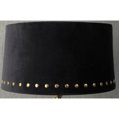 Velvet lampskärm med nitar 33 cm - Svart / Mässing