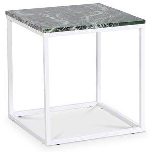 Accent soffbord 50 - Grön marmor / Vit