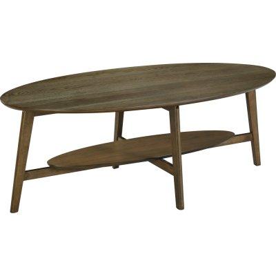 Bridge ovalt soffbord med hylla 140 cm - Valnöt