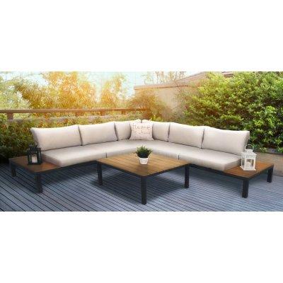 Loungesoffa Belair med bord - Grå/ljusgrå