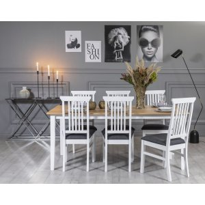 Fårö matgrupp: Bord 180 cm inklusive 6 Måsö stolar - Vit/Ek & 4790.00