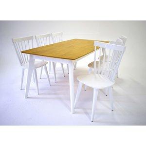 Sarek matgrupp - Bord inklusive 6 st stolar - Ek / vit