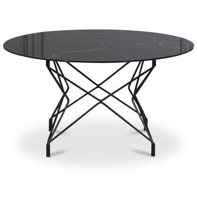 Soffbord Star 90 cm - Svart marmorerat glas / Svart underrede