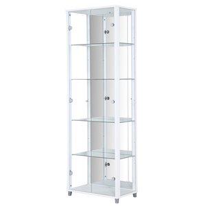 Optima vitrin & glasskåp - vitt | 2 dörrar (med spegelbakstycke)