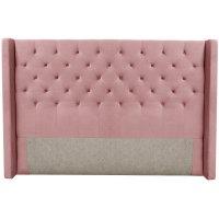 Almedal sänggavel med knappar (Rosa sammet) - Valfri bredd