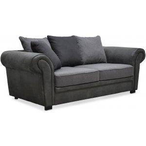 Delux 2-sits soffa med kuvertkuddar - Grå/Antracit/Vintage
