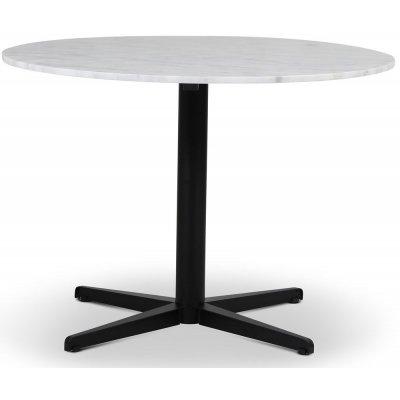 SOHO matbord Ø105 cm - Matt svart kryssfot / Ljus marmor
