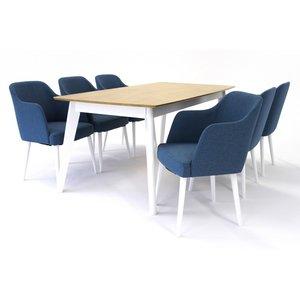 Sarek matgrupp - Bord inklusive 6 st Sarek stolar - Vit/ek