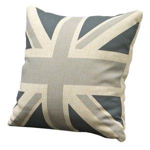 Union Jack prydnadskudde - grå