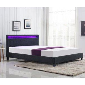 Aden säng med LED 160 cm - Mörkgrå