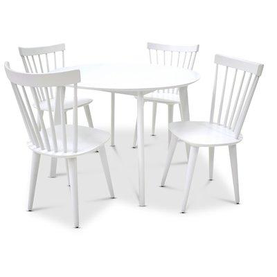 Sarek matgrupp - Bord inklusive 4 st Pinnstolar - Vit
