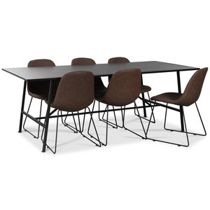 Toscana matgrupp: 206 cm bord + 6 st Atlantic Sled stolar brun PU