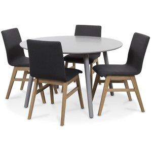 Rosvik matgrupp grått runt bord med 4 st Molly stolar grått tyg - Grå / Ek