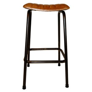 Trelleborg barstol - Metall/läder