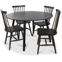 Rosvik matgrupp runt svart matbord med 4 st Karl pinnstolar- Svart / Brunoljad ek