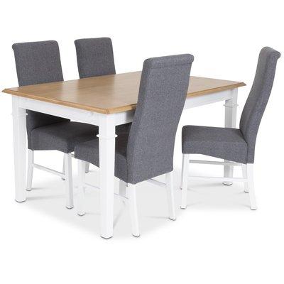 Ramnäs matgrupp - Bord inklusive 4 st Isabelle stolar med grå klädsel - Vit/Ekbets