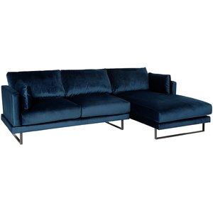 Florance soffa med divan till höger - Mörkblå sammet