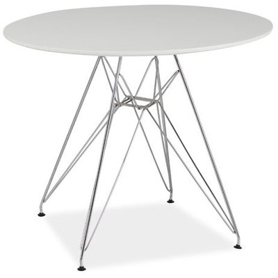Patricia matbord 90 cm - Vit/krom