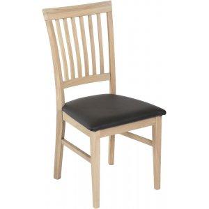 Luleå matstol - vitoljad ek/svart PU