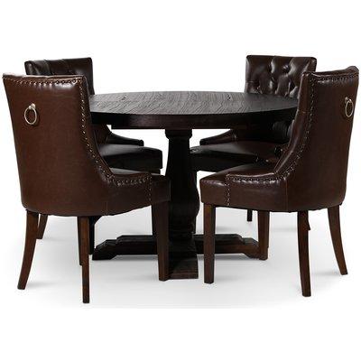 Lamier matgrupp Bord med 4 st Tuva stolar i brun PU med rygghandtag