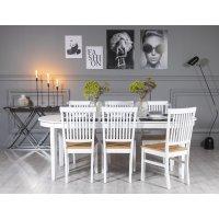 Gåsö matgrupp: Bord 160/210 cm inklusive 6 Fårö stolar - Vit/Ek