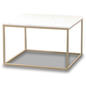 Terrazzo soffbord 75x75cm - Bianco Terrazzo & underrede mässing
