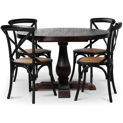 Lamier matgrupp Bord med 4 st svarta Gaston stolar