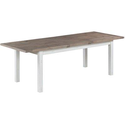 Canada matbord 180-230 cm - Gråbetsad furu / Vita ben