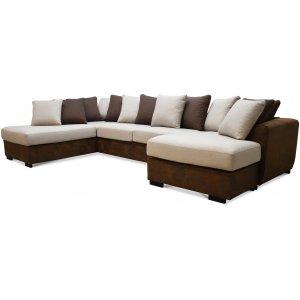 Delux U-soffa med öppet avslut vänster - Brun/Beige/Vintage