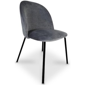 Giovani velvet stol - Grå/Svart
