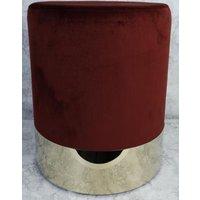 Rund sittpuff cylinderformad - Bordeaux (Sammet) / Mässing