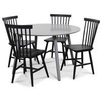 Rosvik matgrupp grått runt bord med 4 st svarta Karl Pinnstolar - Grå / Svarta